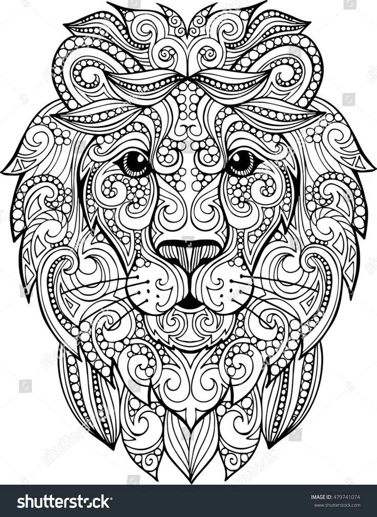Zentangle lion head coloring page shutterstock 479741074