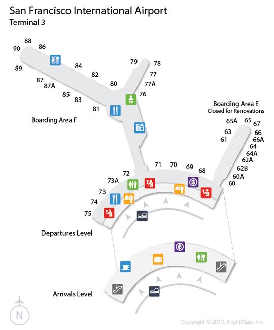 san francisco terminal 3 map Flightstats San Francisco International Airport Airport san francisco terminal 3 map