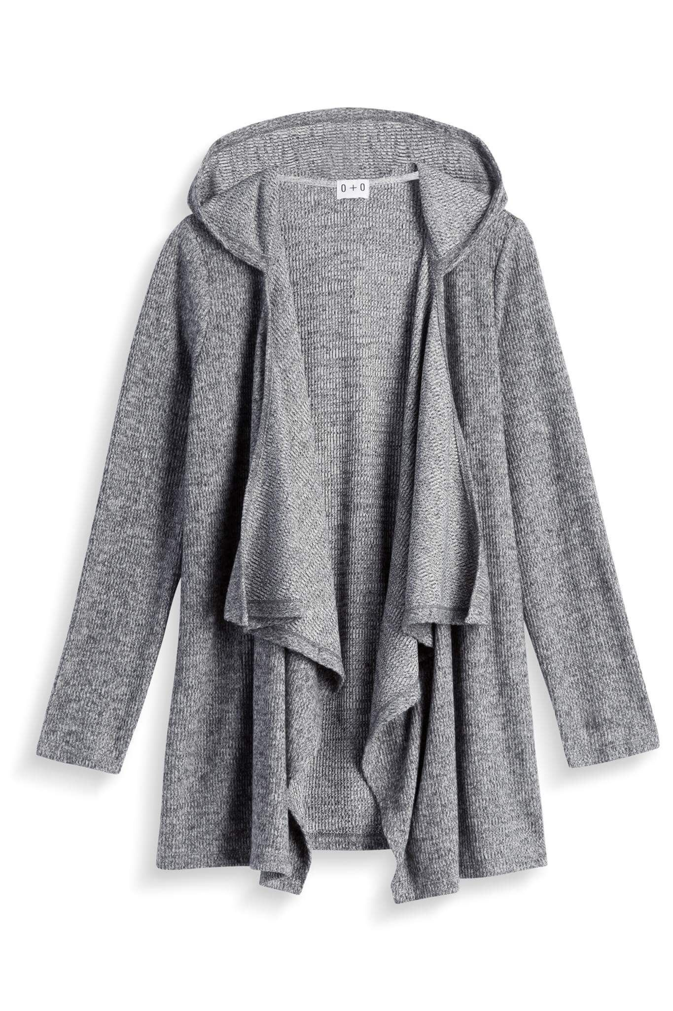Olive & Oak Miah Hooded Cardigan, grey heather drape | FB Stitch ...