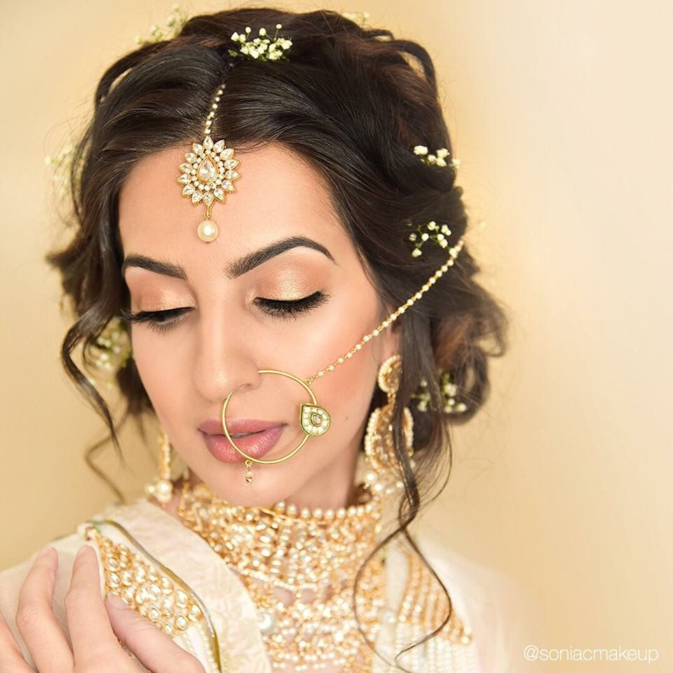 pakistani bride with sparkling dupatta, ombré braid, rose gold