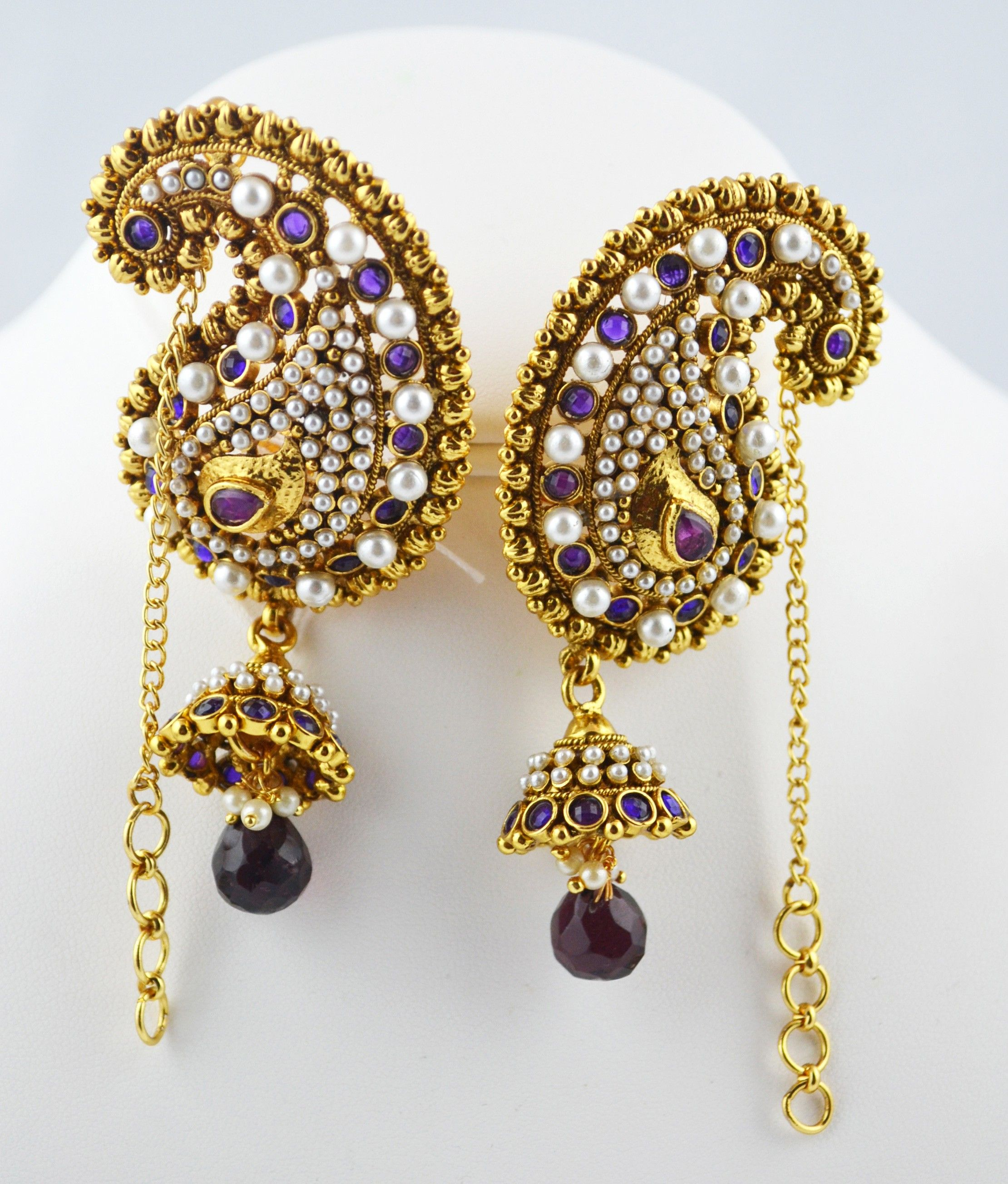 Indian Jewelry Store  Swasam: Full Ear Covering Red And Pearls   Earrings