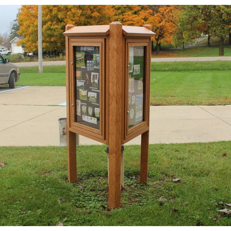 3 Sided Kiosk Message Center Outdoor Picnic Tables Community Gardening Forest Design