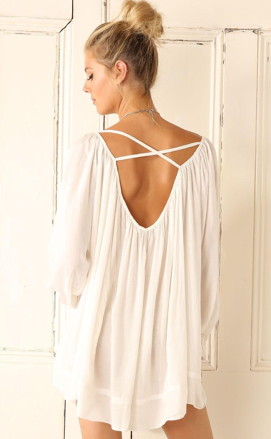 White long sleeve cross back dress fashion for