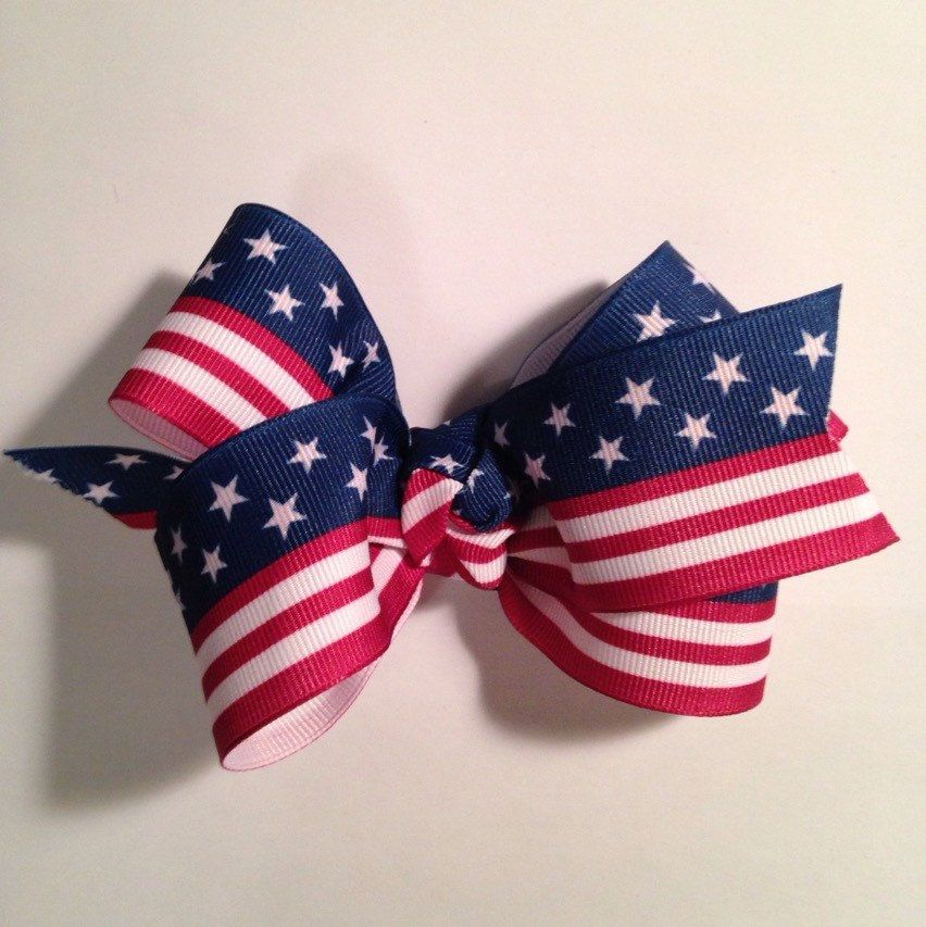 A personal favorite from my Etsy shop https://www.etsy.com/listing/224267570/patriotic-flag-boutique-hairbow-456