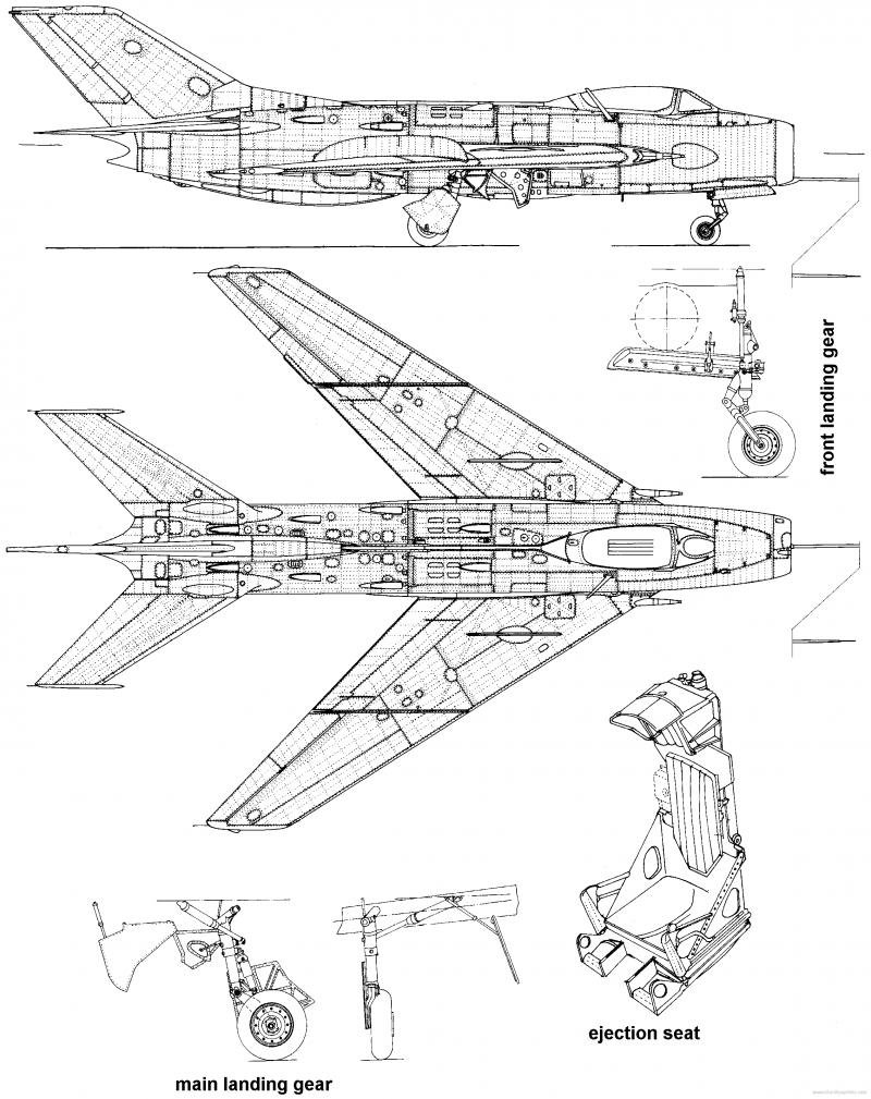 Самолет МИГ-19 - чертежи, габариты, рисунки | Самолет ...