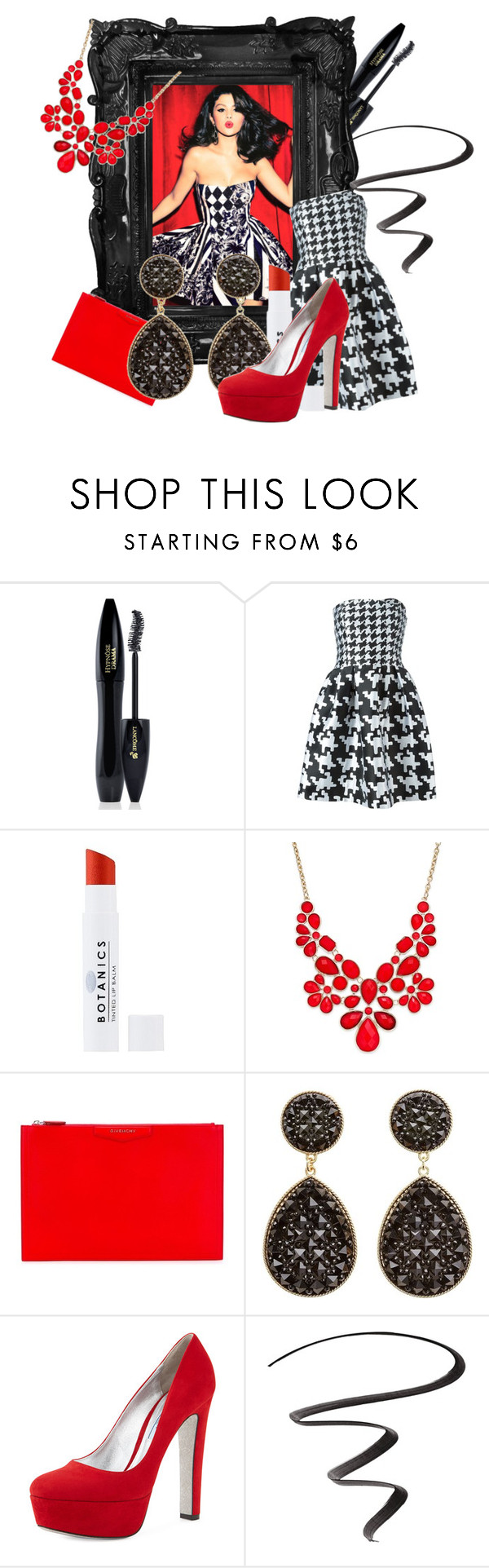 """""""Selena in Red"""" by egordon2 ❤ liked on Polyvore featuring Lancôme, Boutique Moschino, Botanics, INC International Concepts, Givenchy, Charlotte Russe, Prada, Maybelline and selenagomez"""