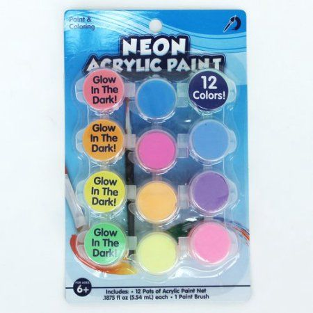Go Create Acrylic Glow In The Dark Neon Paint Set 12 Paint Colors Walmart Com Neon Painting Paint Set Neon