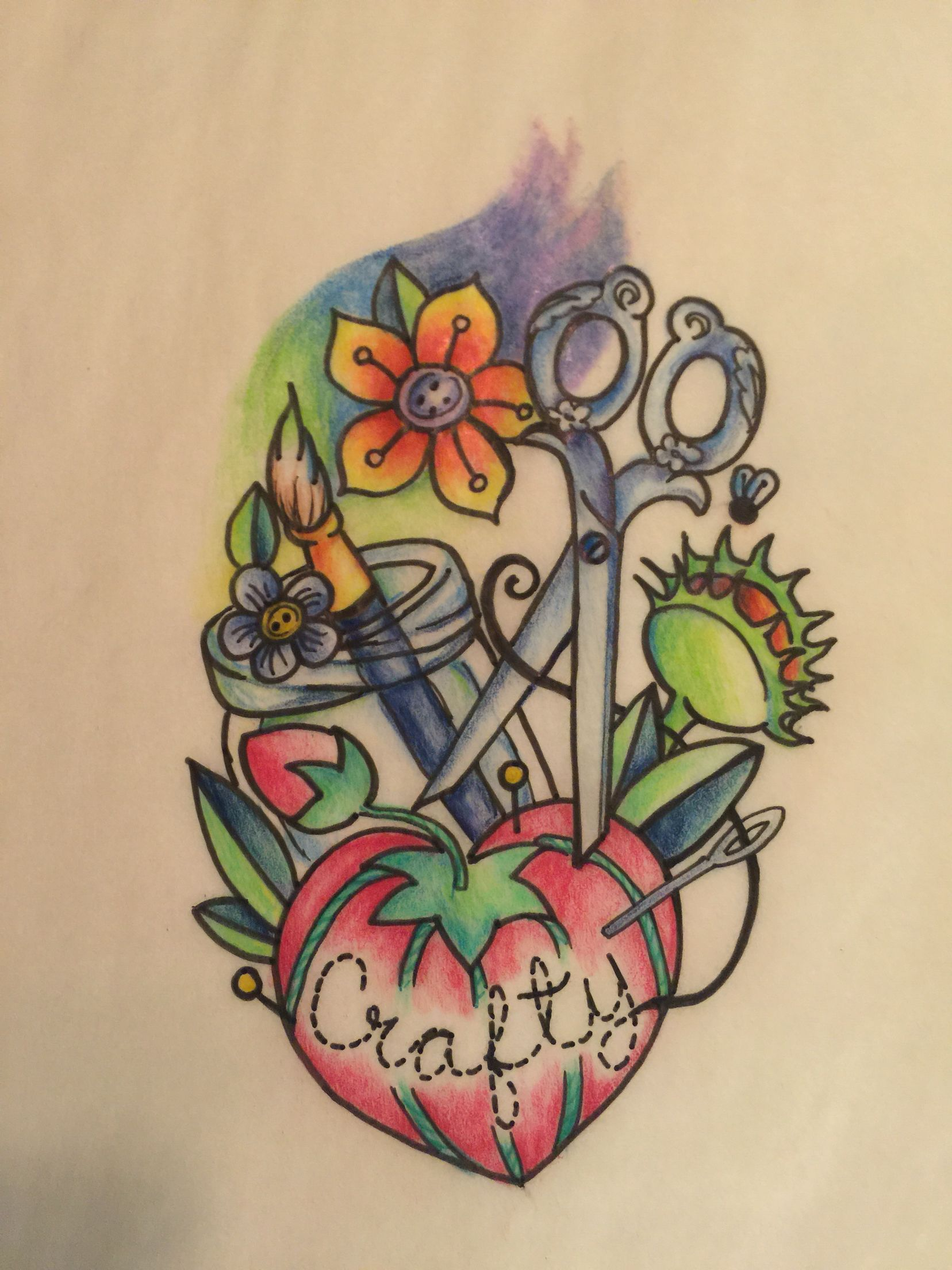 Crafty tattoo design pin cushion scissors flowers