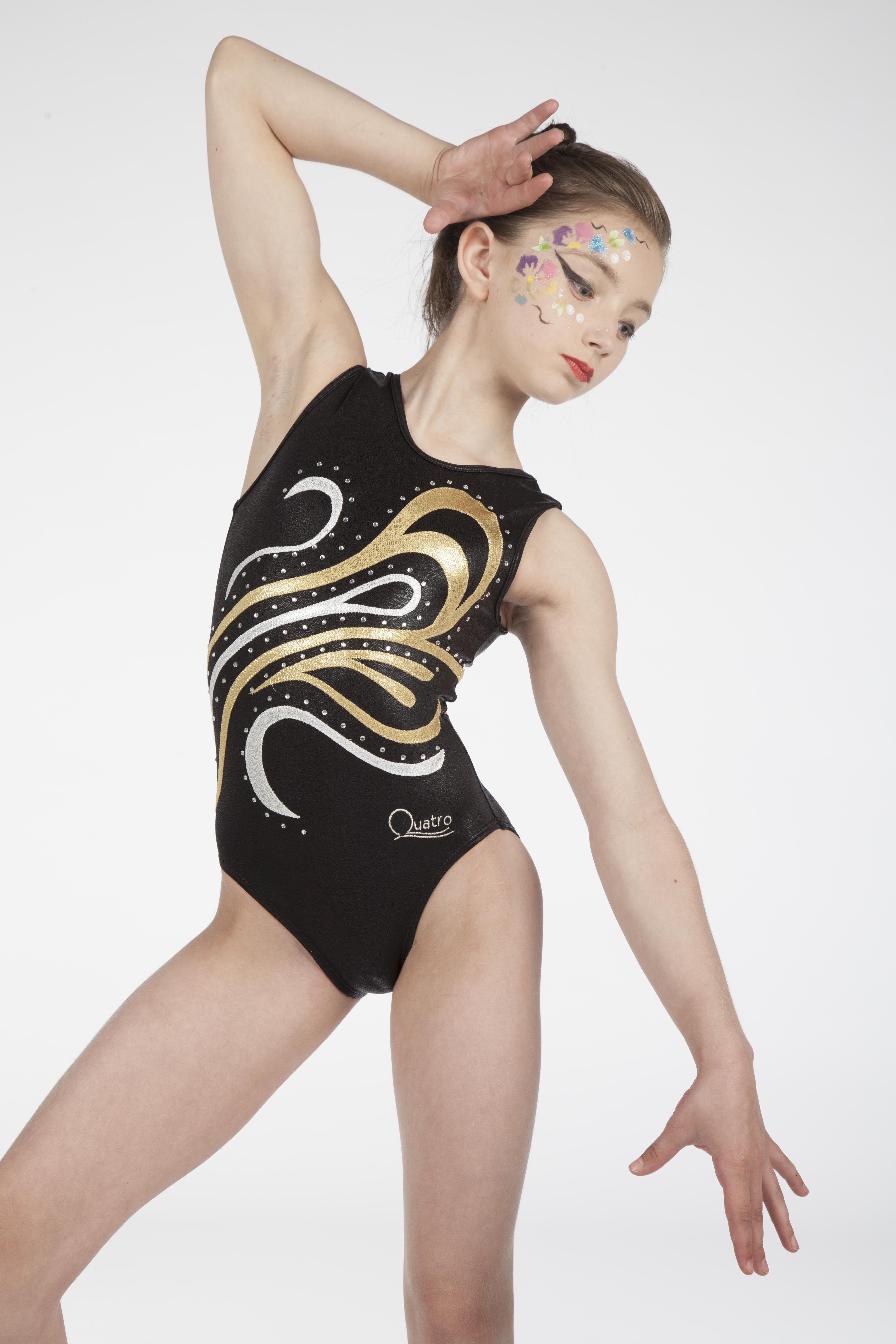 black gold silver girls gymnastics leotard   Girls Black Leotards ...