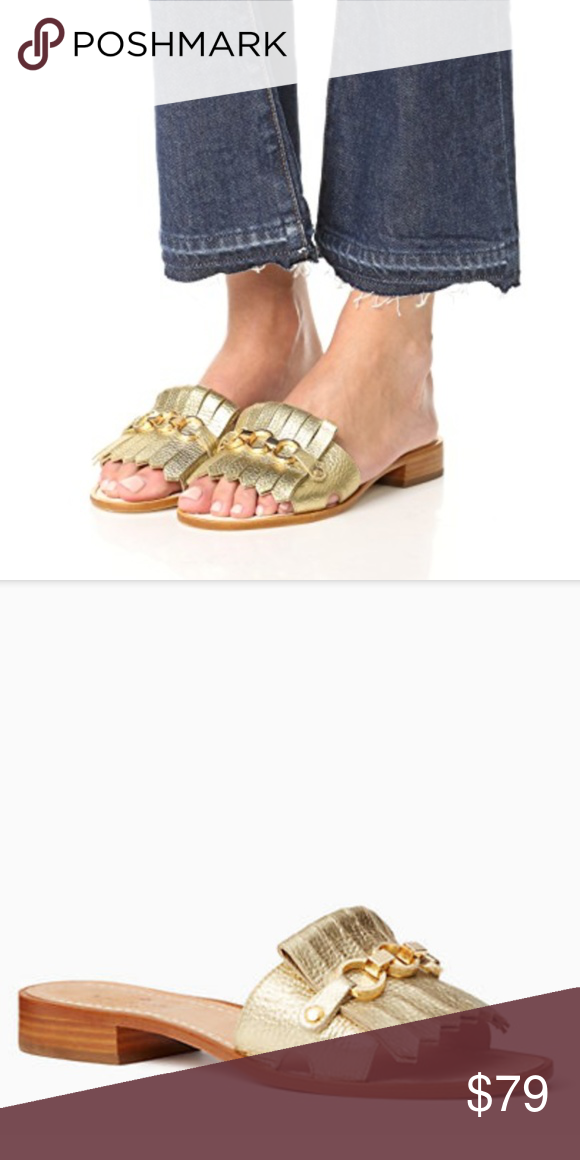 d9d15b1fe757 Kate Spade Gold Fringe Brie Slides Sandals 8.5 Worn 1x to a wedding. Love  these