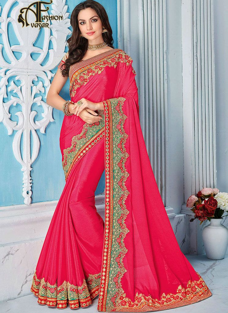 ad1b0f2c68591 Hot Pink Saree With Golden Blouse