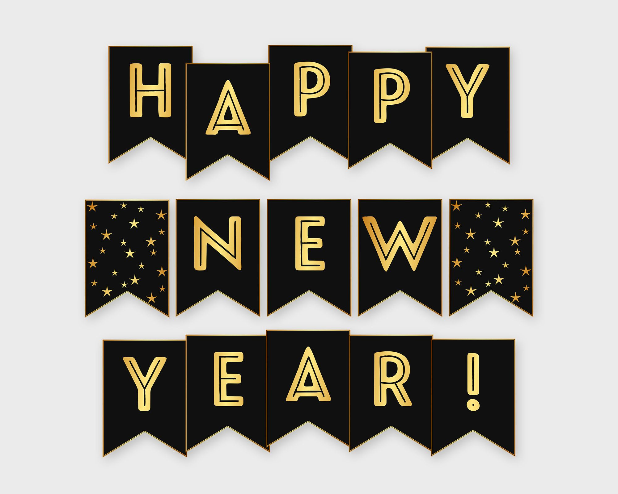 Happy New Year Banner Gold Black New Year Party 2021 Holiday Decoration Printable Digital File Diy Print Instant Download Happy New Year Banner New Year Banner Diy Prints