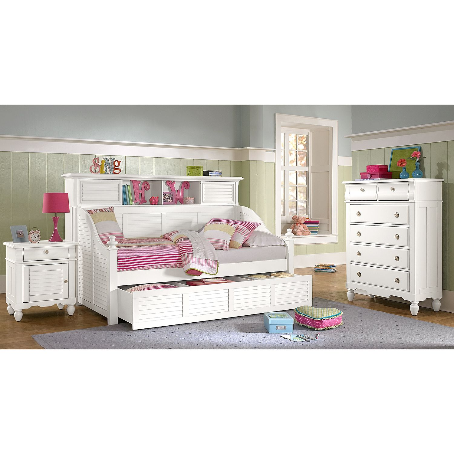 Seaside White Ii Bookcase Daybed With Trundle American Signature Furniture Daybed With Trundle White Kids Furniture Dorm Room Styles