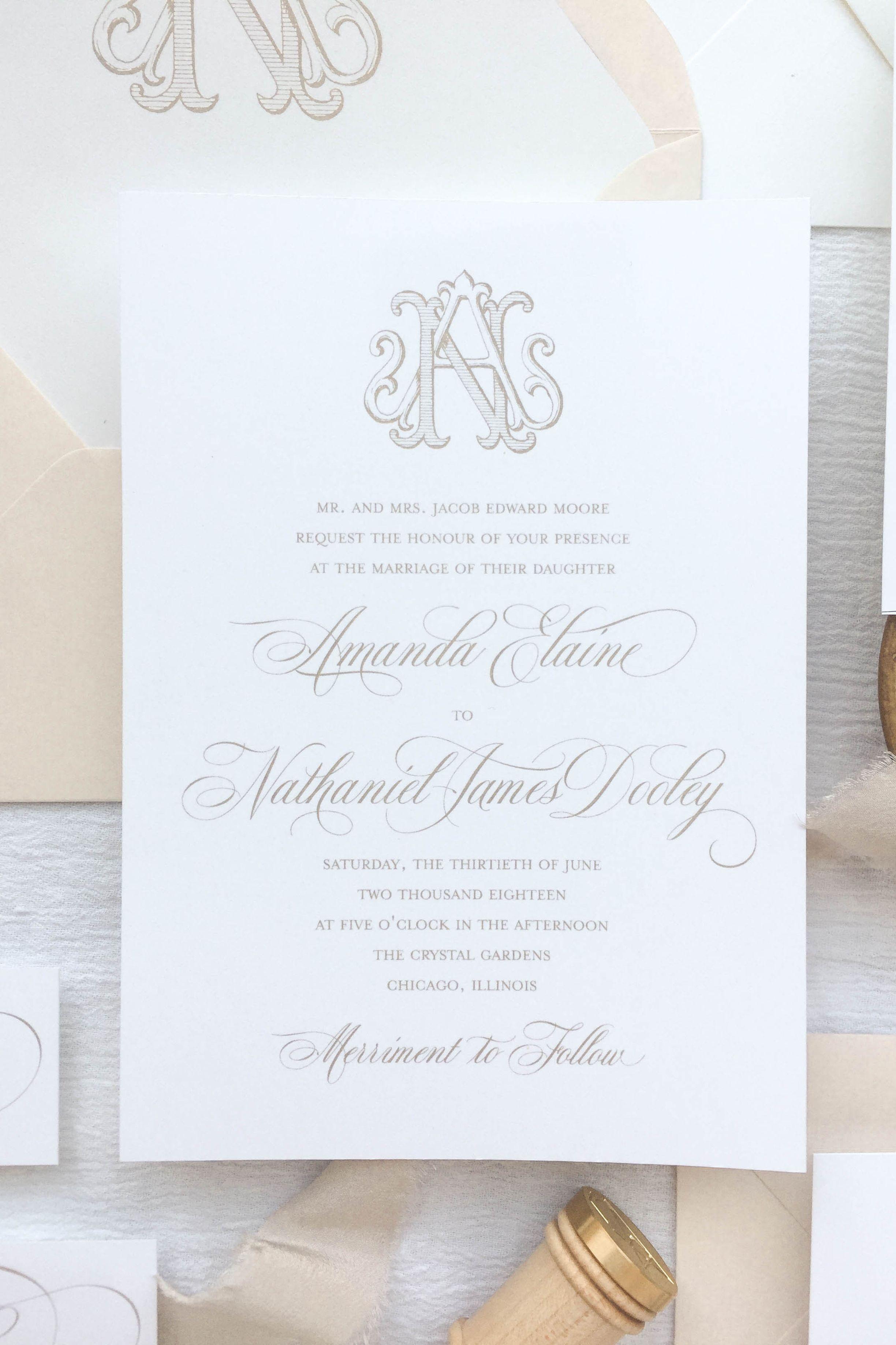Wedding Monogram Use Custom Wedding Invitations By Little Fox