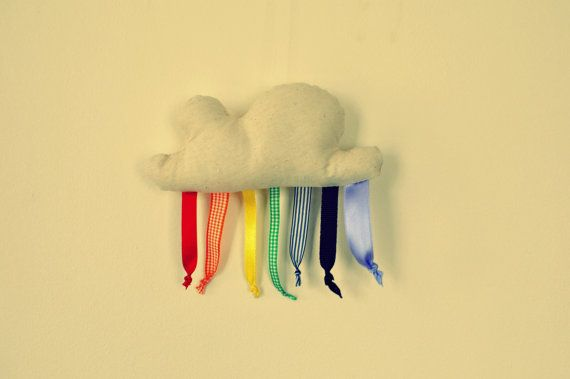 Rainbow cloud softie taggy baby toy ornament by tabithaandhugo, $12.00