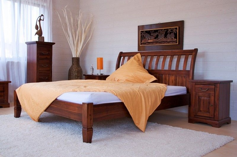 Moebelkultura Bett Siena Akazie massiv Holz Moebel Holzbett - schlafzimmer holz massiv
