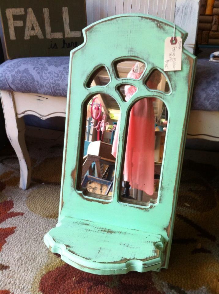 This little mirror just needed a little bit of paint! #distressed #mirror #mintgreen #dress #shelf