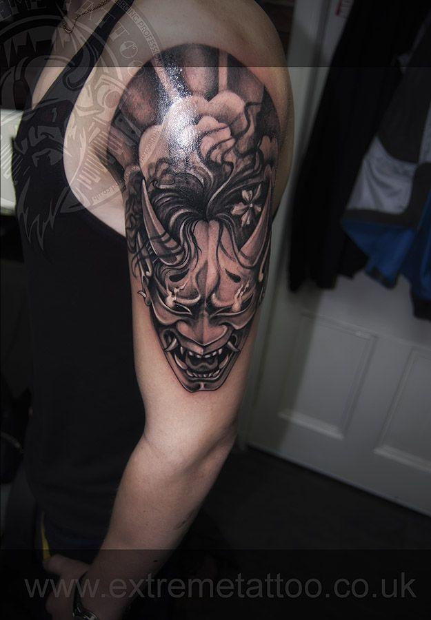 b6777905d53a7 Hannya mask tattoo Japanese tattoo sleeve in progress,Gabi Tomescu.Extreme  tattoo&piercing. Fort William.Highland.Realistic tattoo, Black and grey  tattoo, ...