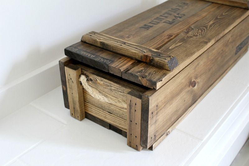 Diy decorative ammo fathers day diy bloggers to follow pinterest father box and woods - Decorative wooden crates ...