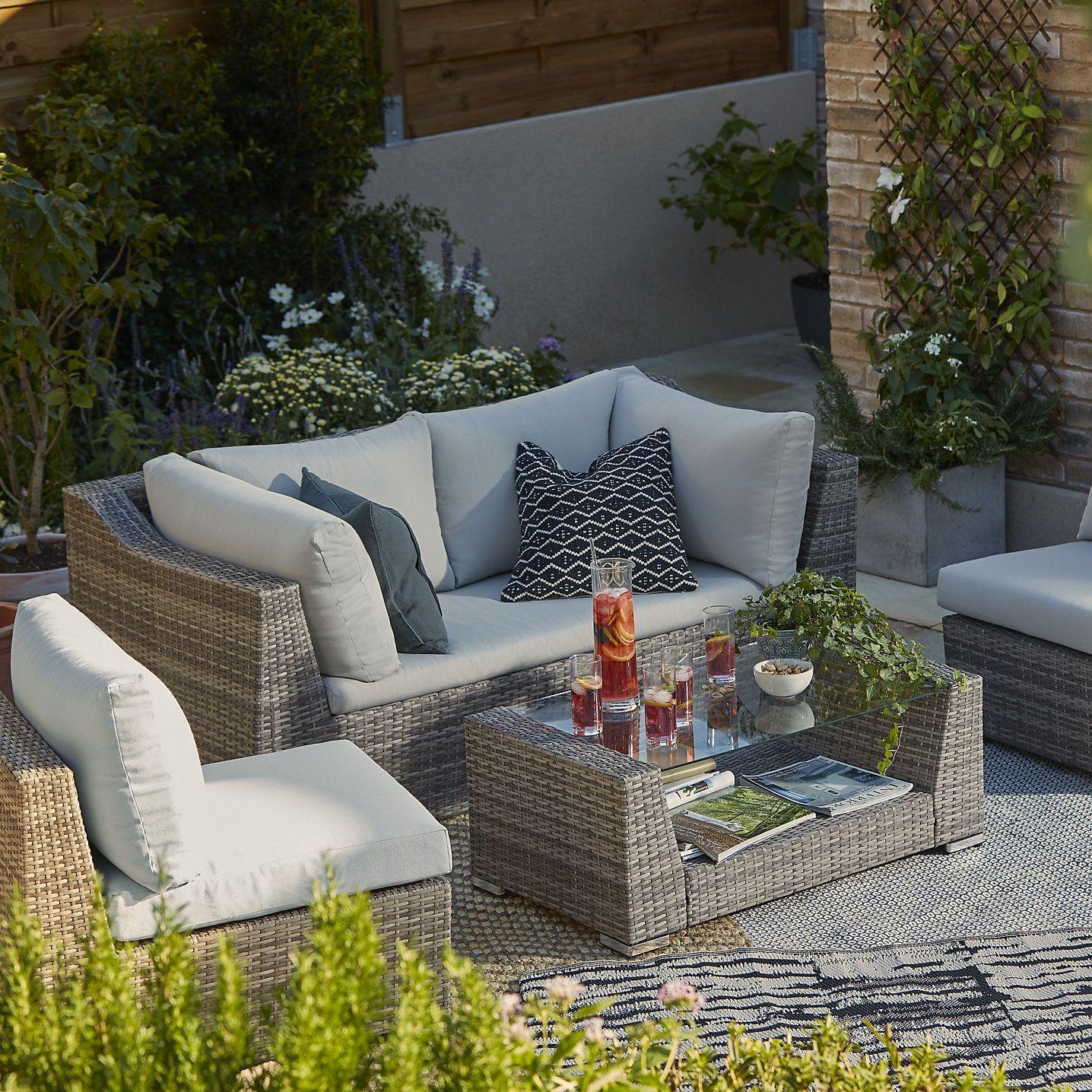 Maevea Rattan Effect 4 Seater Coffee Set Garden Furniture Sets Rattan Outdoor Furniture Rattan Garden Furniture