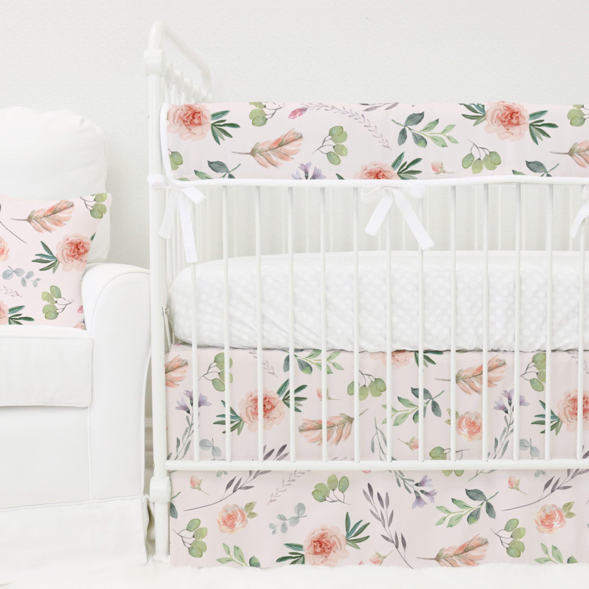 bumperless crib bedding collection britts boho garden blush