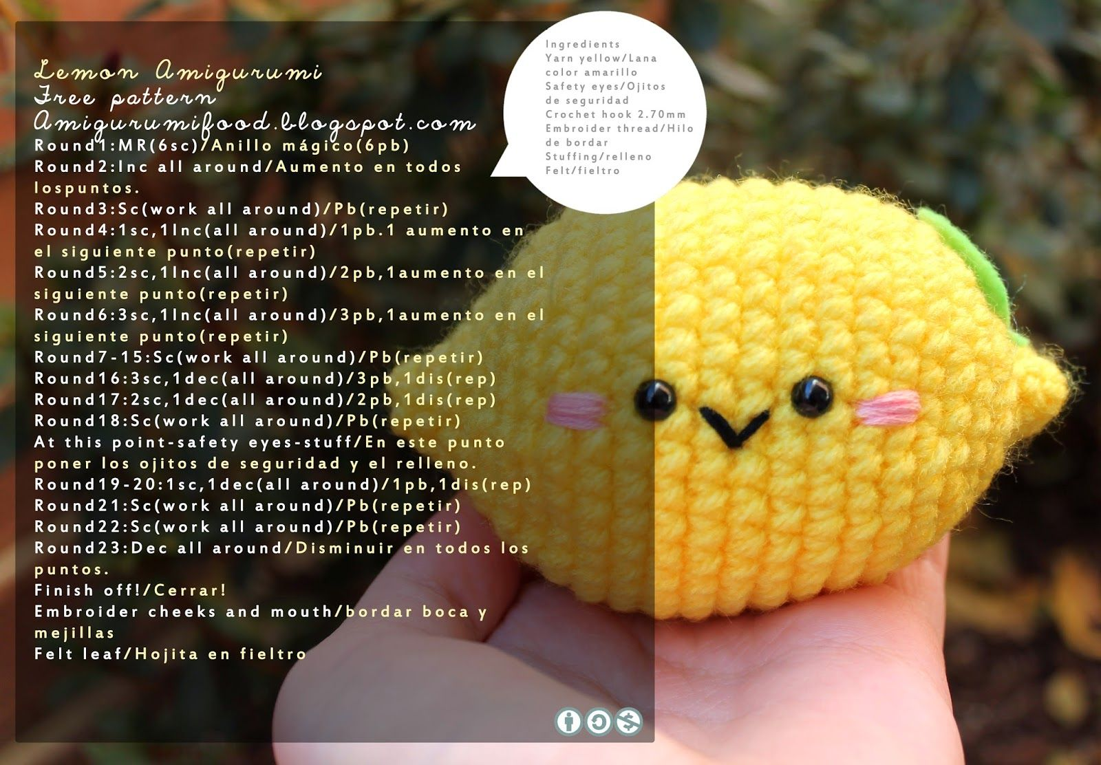 Amigurumi Food: Lemon cute Amigurumi Free pattern! | Crochet ...
