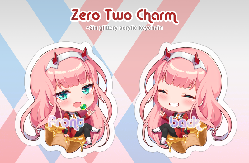 Glittery double sided acrylic keychain of Zero Two from Darling in