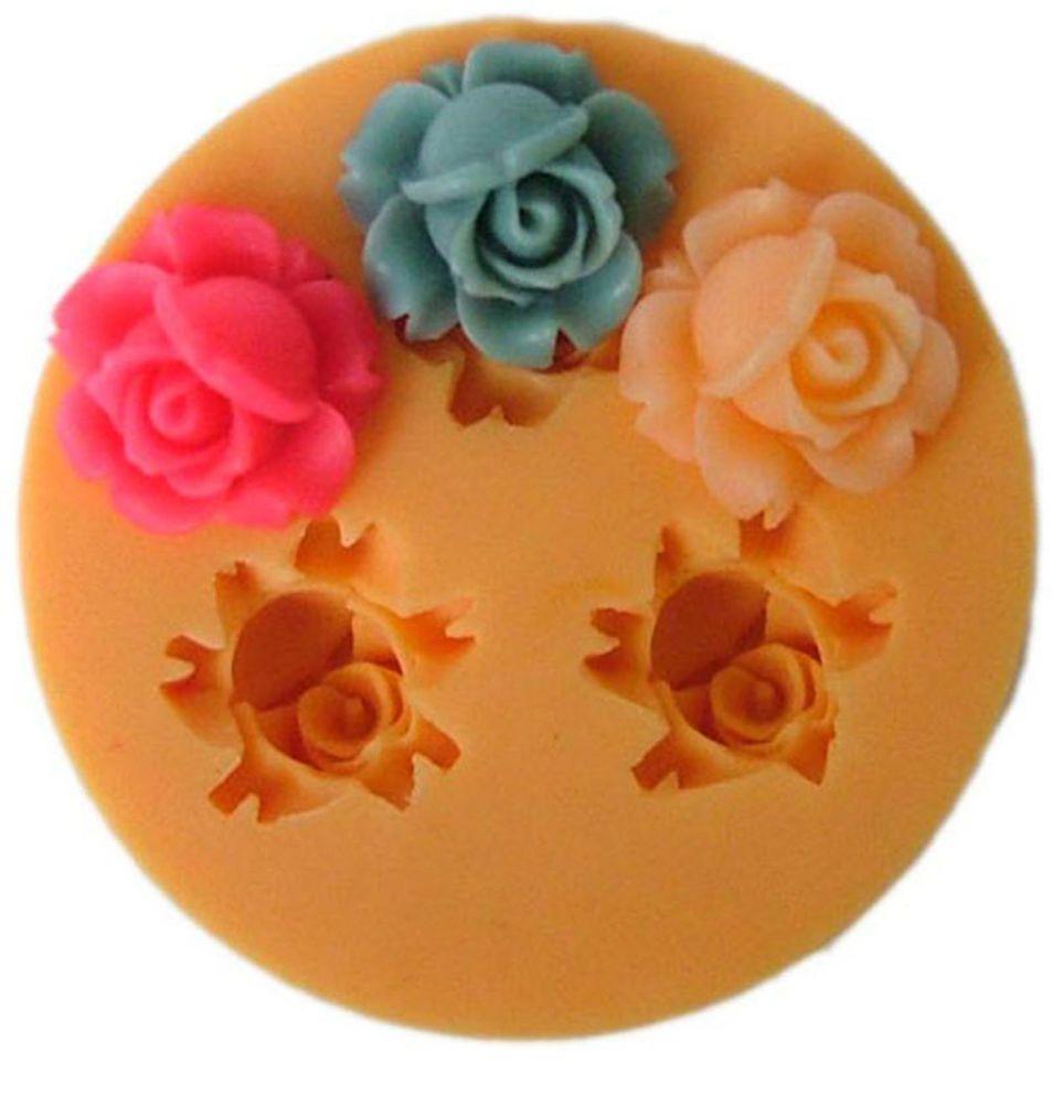 D wedding rose silicone fondant cake decorating soap candle maker