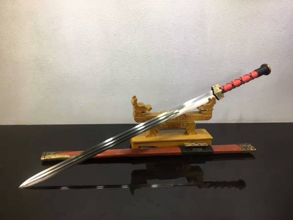 """Chinese sword,Han jian(Folding steel blade,Redwood scabbard,Alloy fitted)Length 41"""""""