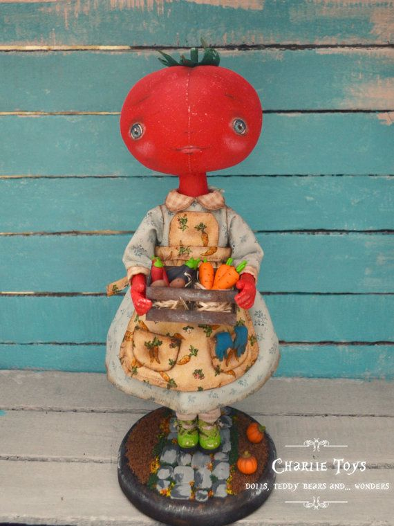 "Tomato -ooak 13"" art doll - ""In my farm"""