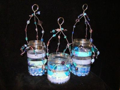 Glass Jars With Wire Hanger Decorated With Beads Glass Jars Jar Decorated Jars