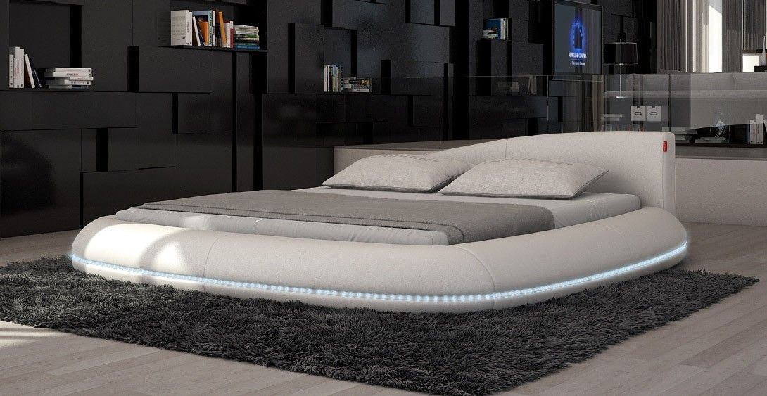 $1280 Cerchio Modern Eco-Leather Bed w/ LED Lights | Bed ...