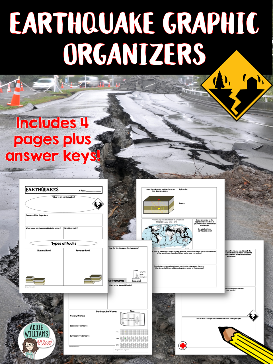 Worksheets Graphic Organizer For The Topic Faults earthquake graphic organizers covers types of faults waves measuring earthquakes focus