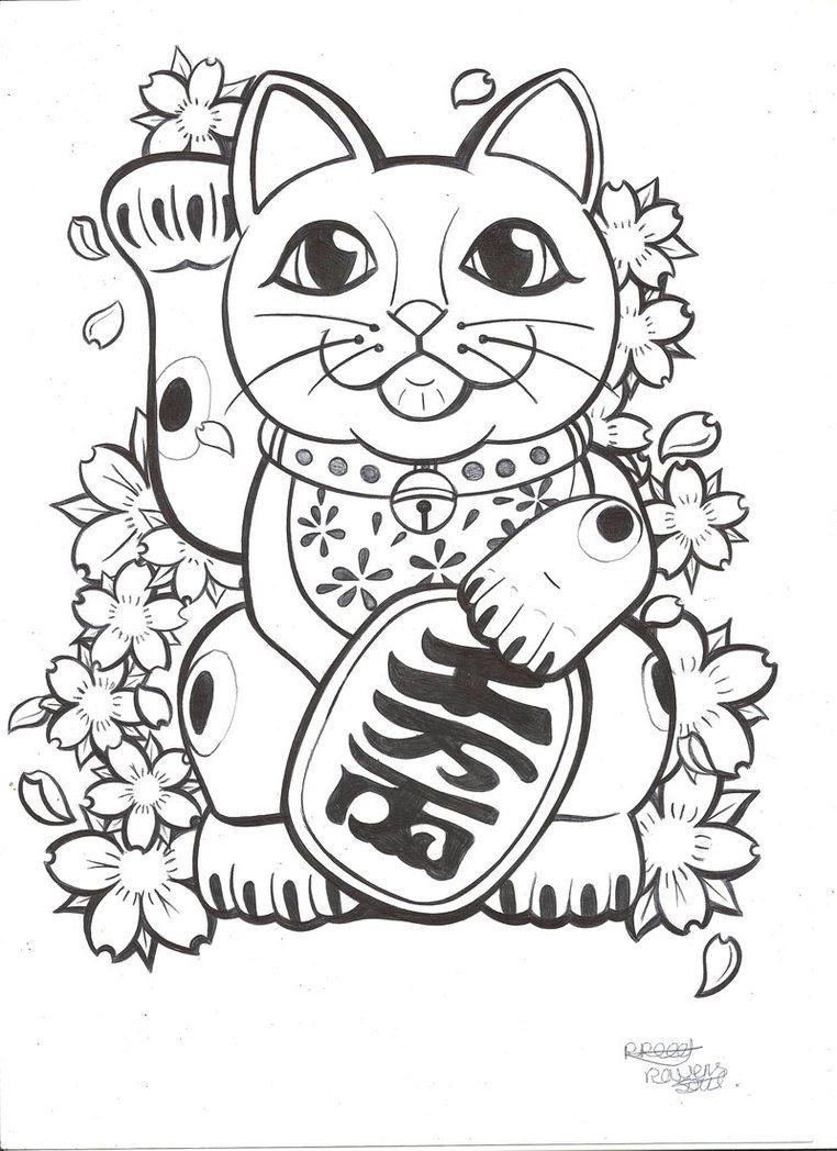 Japanese Cat Coloring Pages Images