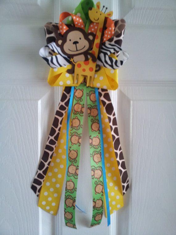 Jungle theme monkey and giraffe door decoration baby for Baby shower door decoration