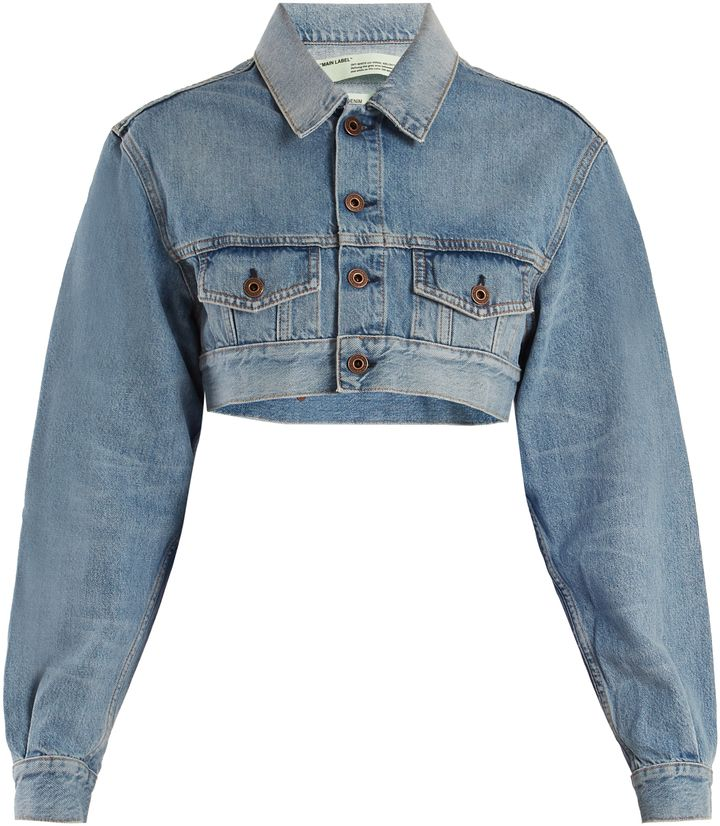 Affiliatead Off White Point Collar Cropped Denim Jacket Chic