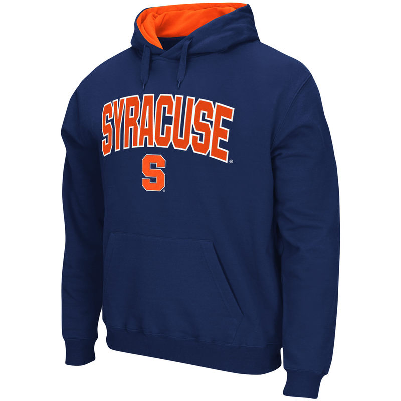 338c9290 Men's Stadium Athletic Navy Syracuse Orange Arch & Logo Tackle Twill Pullover  Hoodie