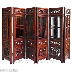 Rosewood-Wood-Chinese-Pattern-Folding-Screen-Divider-1-6-Scale-Dolls-Furniture