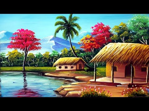 Indian Village Senary Painting Easy Tutorial Watercolour Painting For Beginners Youtube Scenery Paintings Beautiful Scenery Drawing Village Photography