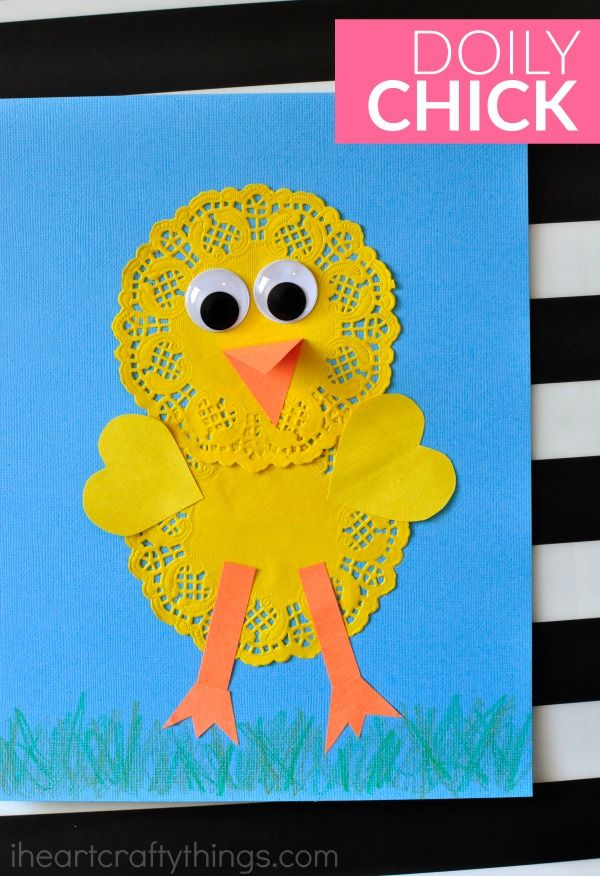 Cute and Simple Doily Chick Craft #craftsforkids