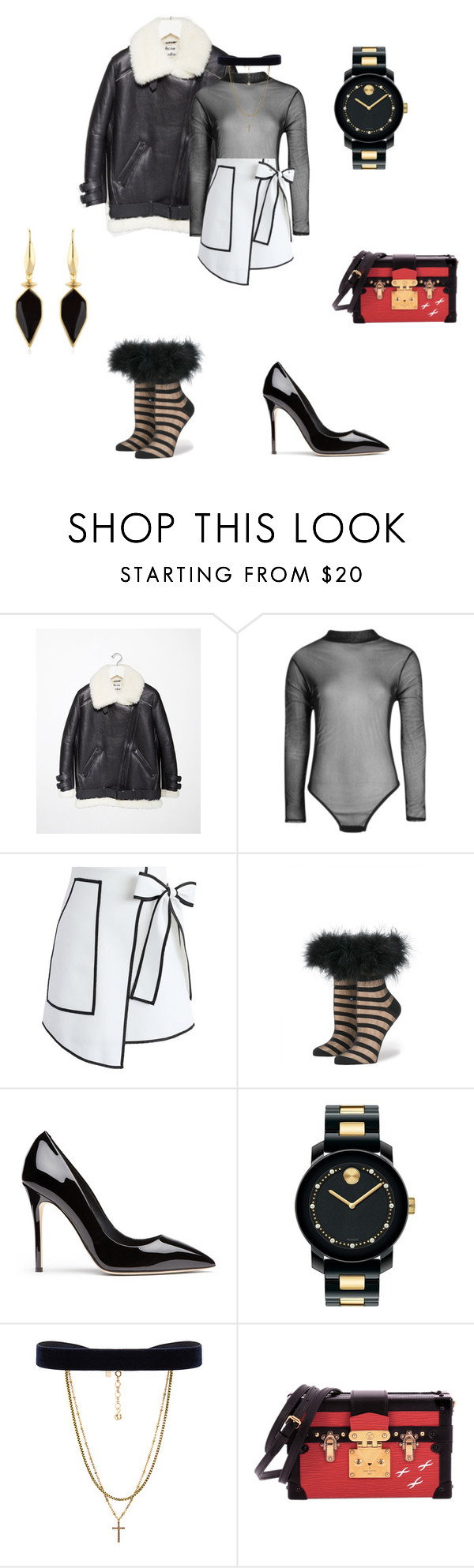 """Black Aviator"" by jfashion101 ❤ liked on Polyvore featuring Acne Studios, Boohoo, Chicwish, Movado, Vanessa Mooney, Louis Vuitton, Isabel Marant, white, black and Rihanna"