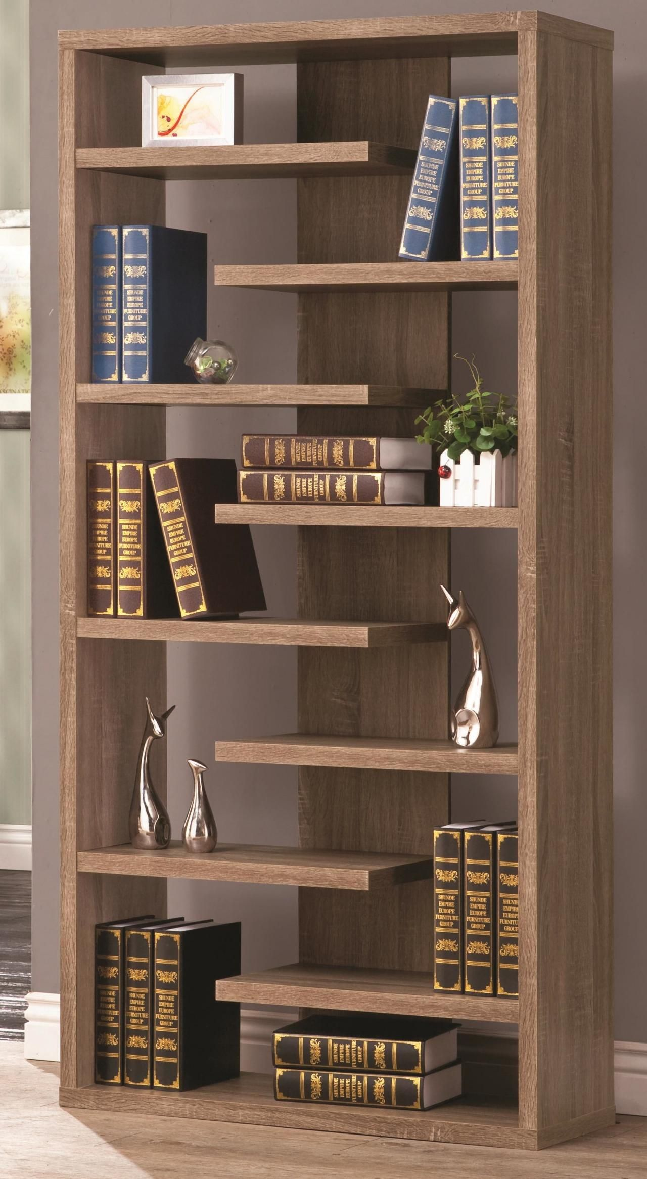 Rustic Wood Cool Retail Bookcase Floating Shelves Store
