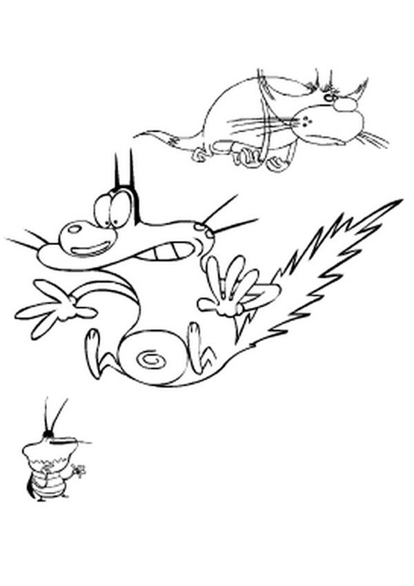 Oggy, Dee Dee and Jack coloring page. More Oggy and the Cockroaches ...