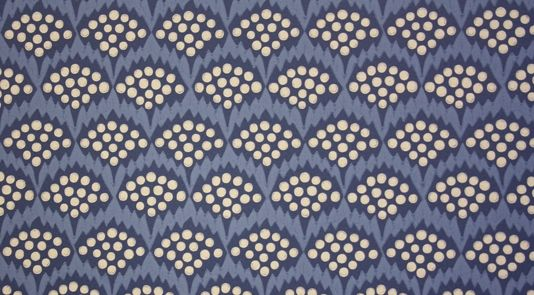 Pollen Wallpaper A Contemporary Fl Patterned Printed In French Blue And Navy With Cream Spots
