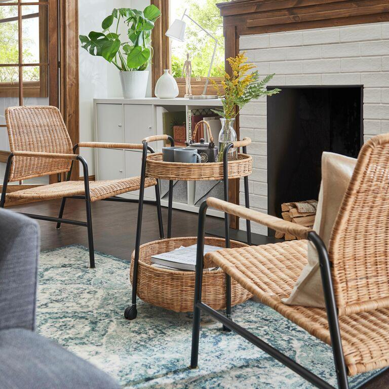 Lubban Table Roulante Avec Rangement Rotin Anthracite En 2020 Decoration Maison Ikea Petit Appartement