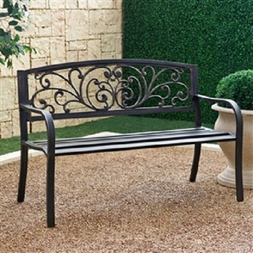 Shcmgb851981521 Curved Metal Garden Bench With Heart Pattern In