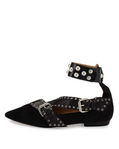 S0G0S Isabel Marant Linzy Studded Ankle-Wrap Flat, Black