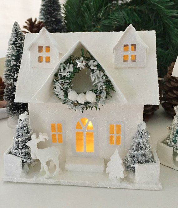 Lighted glitter house christmas village the mark tall also xoxo valentines day frige magnets with golden details red rh pinterest