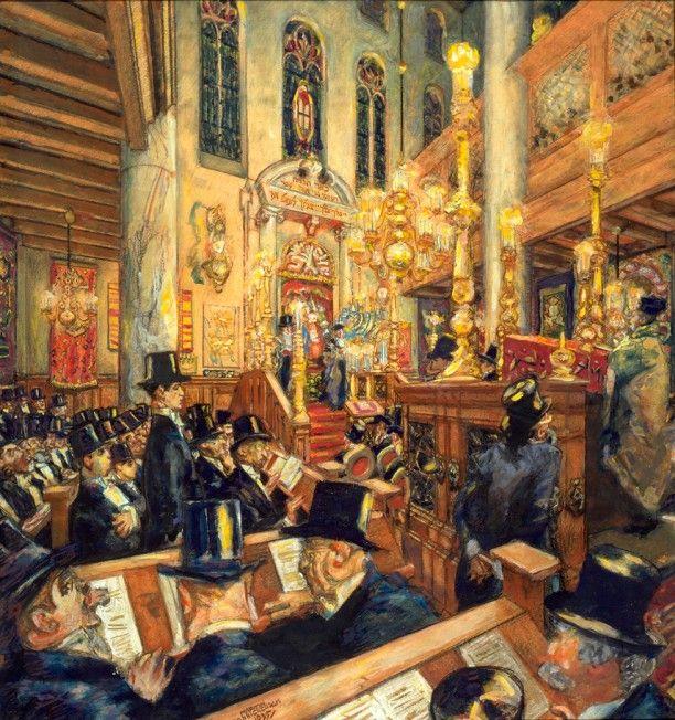 Synagogedienst in de Grote Synagoge ter gelegenheid van het driehonderdjarig bestaan van de Amsterdamse Hoogduitse Gemeente op 14 november 1935 Martin Monnickendam, 1935.