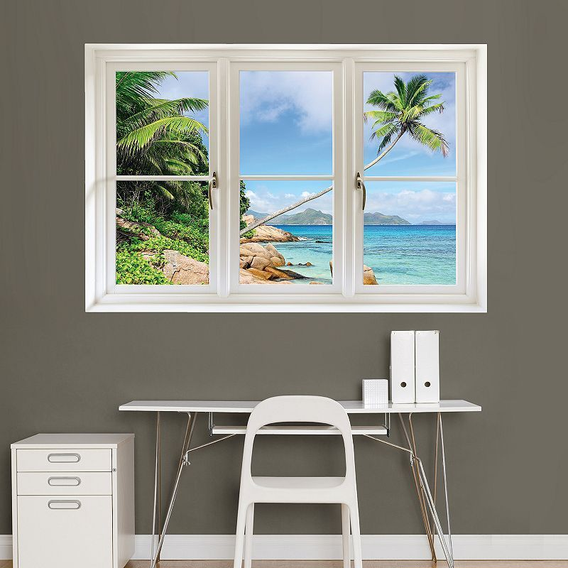 Fathead Tropical Beach Window Wall Decal, Multicolor